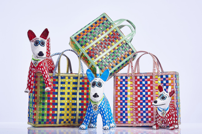 Mowgs Wag baskets and papier mache dogs