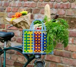 Mowgs bike basket pannier on bicycle