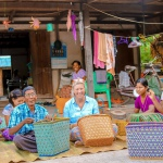 Michal with Head Weaver and artisans creating Mowgs baskets