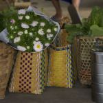 Typical Burmese shopping trip with handwoven baskets